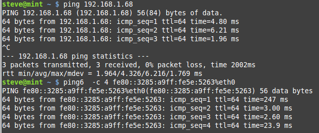 ping-linux-ipv6 screenshot