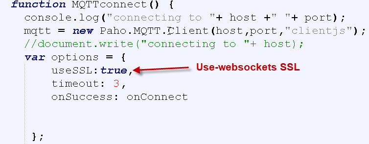 Using The JavaScript MQTT Client With Websockets